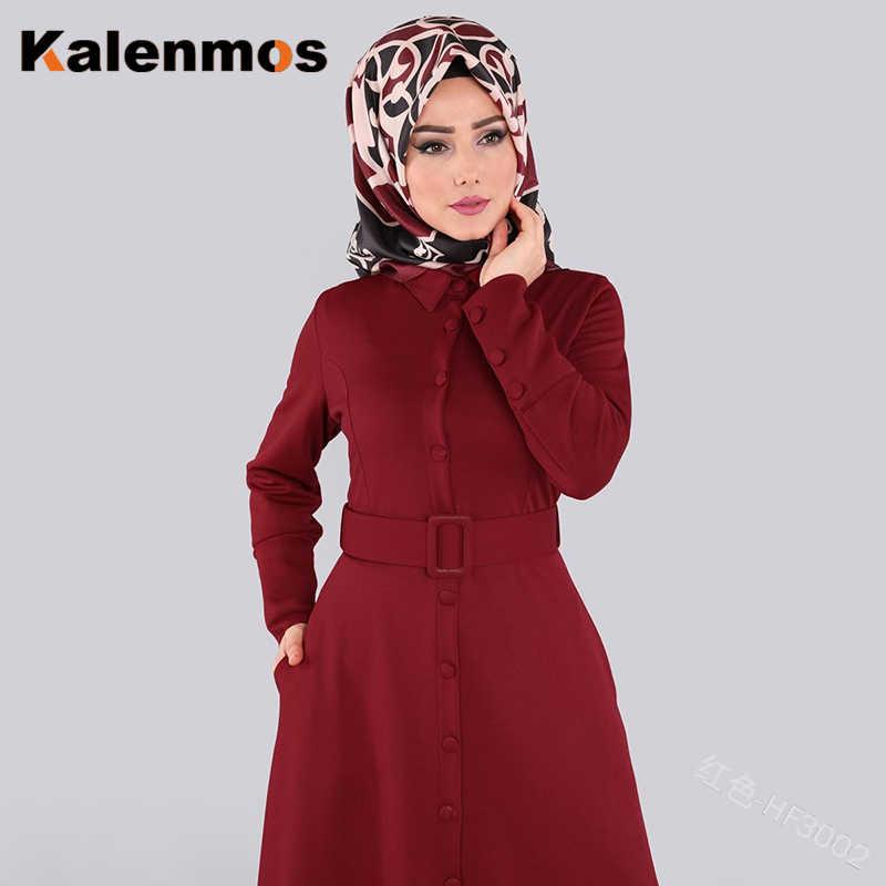 ערבי דובאי העבאיה שמלת נשים המוסלמי מקסי שמלות קימונו ארוך גלימות אבנט Slim נדנדה איחוד האמירויות כפתור OL דש קפטן אסלאמי בגדים