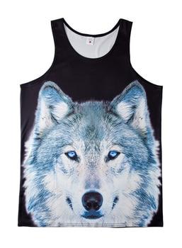 3D Wolf Print Sleeveless Men Pullover Tank Top Casual Loose Harajuku Streetwear Vest Fashion Hip Hop Tops Plus Size 6