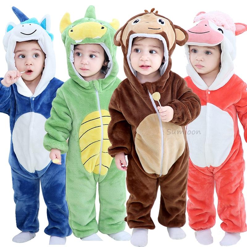 Baby Kids Winter Warm Pajamas Kigurumi Toddler Animal Costume Fancy Dress Romper