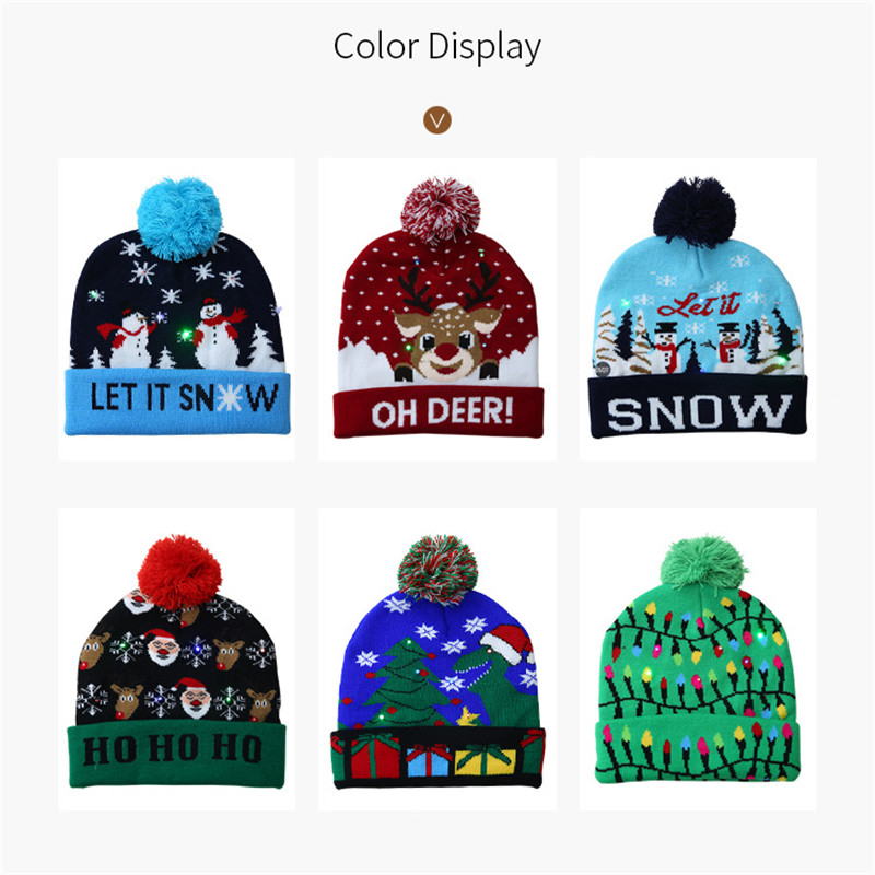H643132c4bcbe41b5b3d1e7b75d63e996f - LED Light Christmas Hats Beanie Sweater knitted Christmas Santa Hat Light Up Knitted Hat for Kid Adult For Christmas Party