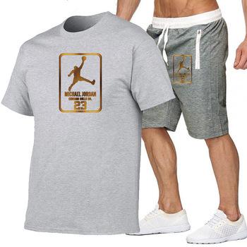2 sztuka garnitur męska Jordan 23 koszulka spodenki letnie krótki garnitur odzież sportowa męska odzież sportowa do biegania odzież sportowa koszulka koszykarska tanie i dobre opinie O-neck Sznurek NONE Poliester Na co dzień shorts polyester PATTERN Drukuj