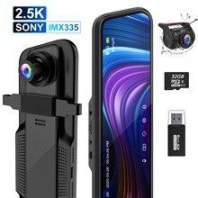ThiEYE CarView 3 2.5K DVR 카메라 10 인치 터치 스크린 전체 HD1080P 비디오 레코더 듀얼 렌즈 미러 Rearview 대시 카메라