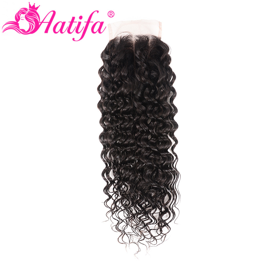 Brazilian Water Wave Closure 100% Human Hair Closure Remy Hair Lace Closure 8-20 Inch Natural Color Aatifa Hair