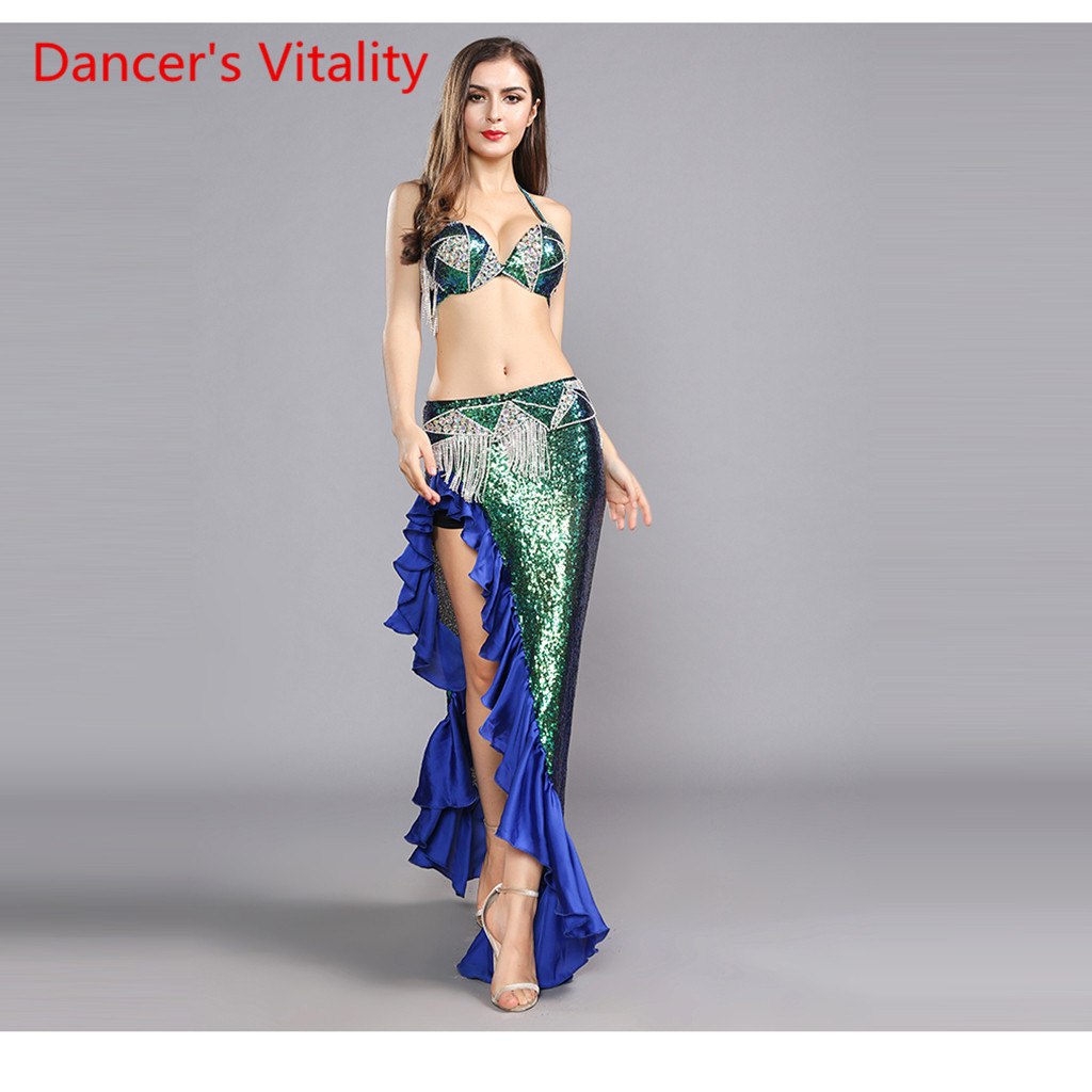 New Belly Dance Costumes Senior Sexy Handmake Bra+Belt+Skirt 3pcs Belly Dance Set For Women Belly Dance Competition Suits
