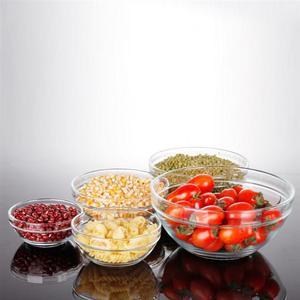 Image 4 - 5 uds. De vidrio resistente al calor conjunto de Boles para ensalada, cuenco fresco, recipiente de comida de cocina con tapa, Color aleatorio
