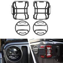 Front Headlights Guard Tail Lights Guard Trim Frame for Jeep Wrangler Jl 2018 2019 2020