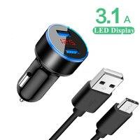 Cable USB tipo c para cargador de coche 3.1A, adaptador de teléfono USB Dual para Samsung Galaxy A21S A31 A41 M31 M31S M51 A01 A11 Note 8 9 10 20 Pro