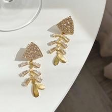 personalized punk style fashion irregular  geometric earrings for women hyperbole gold masonry drop earring dangle punk style geometric chain drop earrings