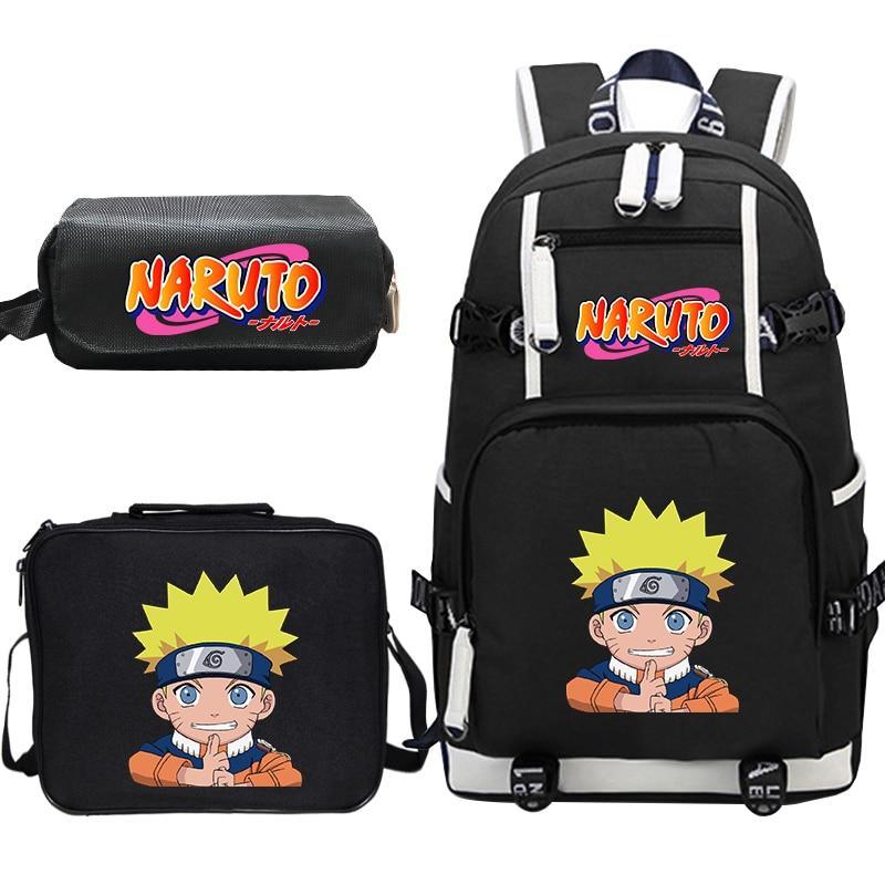 Naruto Anime Backpack For Boys Girls Children School Bags Student Bookbag Kids Travel Bagpacks With Lunchbag+pen Bag Sac Enfant
