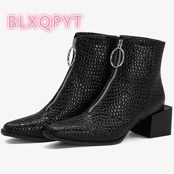 Autumn Winter Women Ankle Boots Round Toe Fashion Short Boots Zipper Square Heels 5cm Comfortable Plus size Lady Shoes F-5