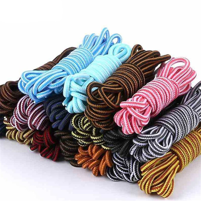 Unisex Simple Striped Double Color Shoe Laces Round 70CM  Boots ShoeLaces Cotton Shoelace Polyester Shoes String Sneaker Lace