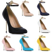 2016 Black Women Pumps Ankle Strap High Heels Shoes Woman Pointed Toe High Heels Sexy Party Shoes Heels Womens Shoes 3845A-b1 women s shoes fashion women pumps sexy leopard grain high heels shoes 2017 womens horsehair thick heels pointed toe rivets shoes