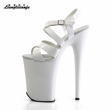 LLXF Summer Stiletto Brand 23cm Ultra High Thin Heel Sandals Sexy Stripper Shoes woman Stage Catwalk Party Cross Strap Pumps