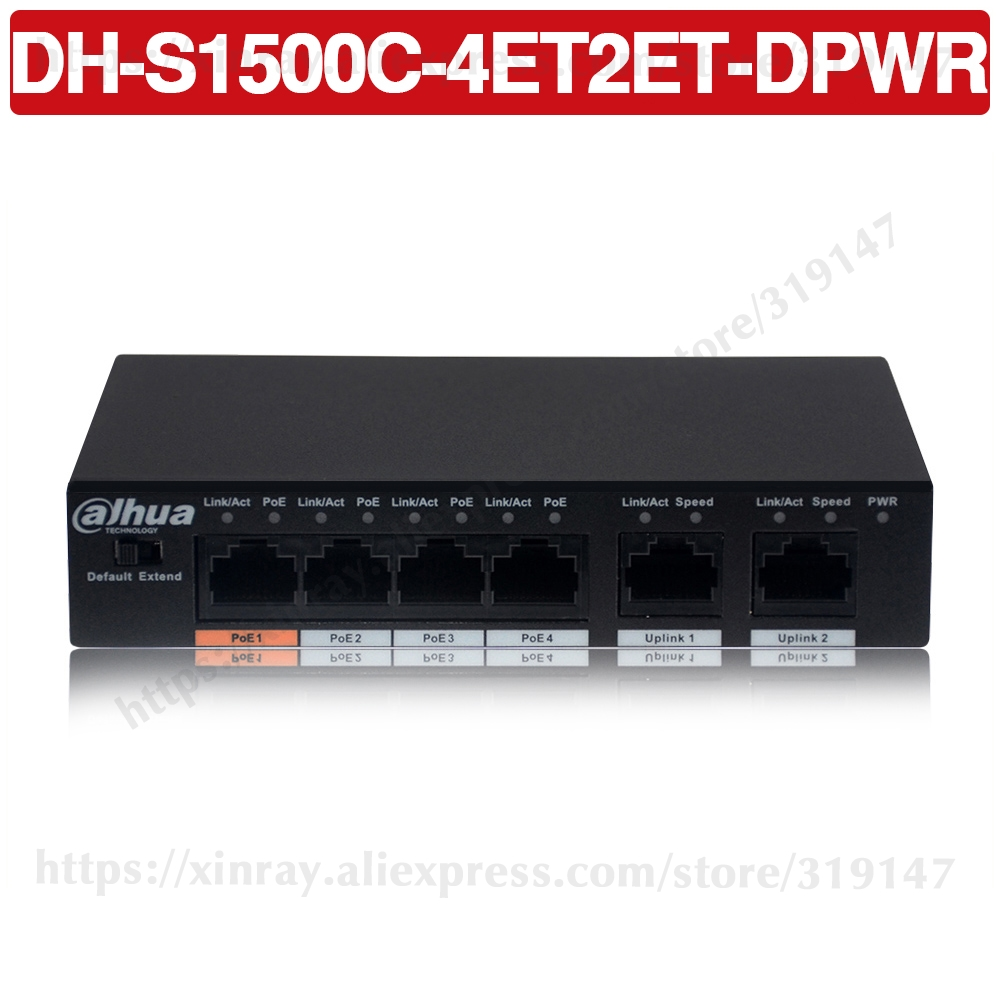 Dahua 4ch PoE Switch DH-S1500C-4ET2ET-DPWR 4CH Ethernet Switch With 250m Power Transit Distance Support PoE+&Hi-PoE Protocol.