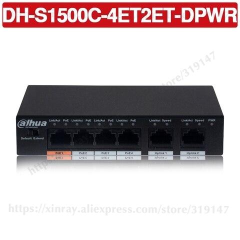 dahua 4ch poe switch dh s1500c 4et2et dpwr 4ch ethernet switch com 250m de distancia