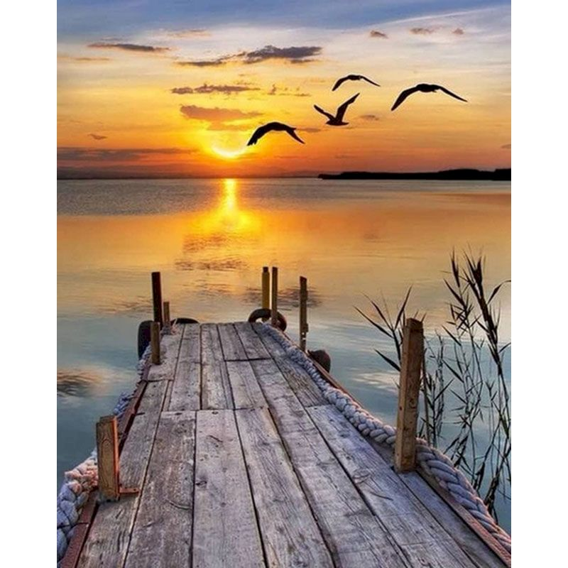 Картина маслом по номерам восход солнца вид морского моста рамка акриловая краска современное настенное Искусство Ручная роспись картина-...