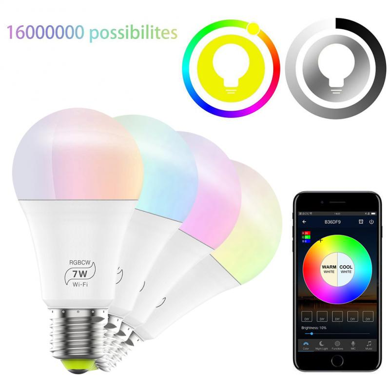 WiFi Smart Light Bulb Sunrise Wake-Up Wifi Lights,Cellphone Control Color Tunable Soft,Cool White,RGB Led Light Bulb 7W