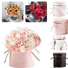 Boîtes à fleurs rondes pour femmes, sac en papier avec chapeau pour Bouquet de fleuriste, boîte d'emballage de fleurs, boîtes de rangement pour cadeaux de fête