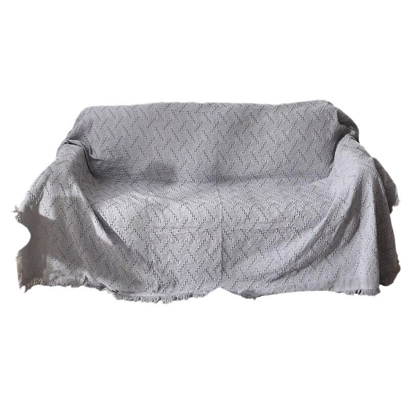 Gray Plaid Sofa Towel Sofa Blanket Fabric Cloth Dust Cover