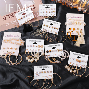 IF ME Fashion Circle Round Pearl Hoop Earrings Set For Women Vintage Bohemian Crystal Twisted Brincos Earring Jewelry 2020 New