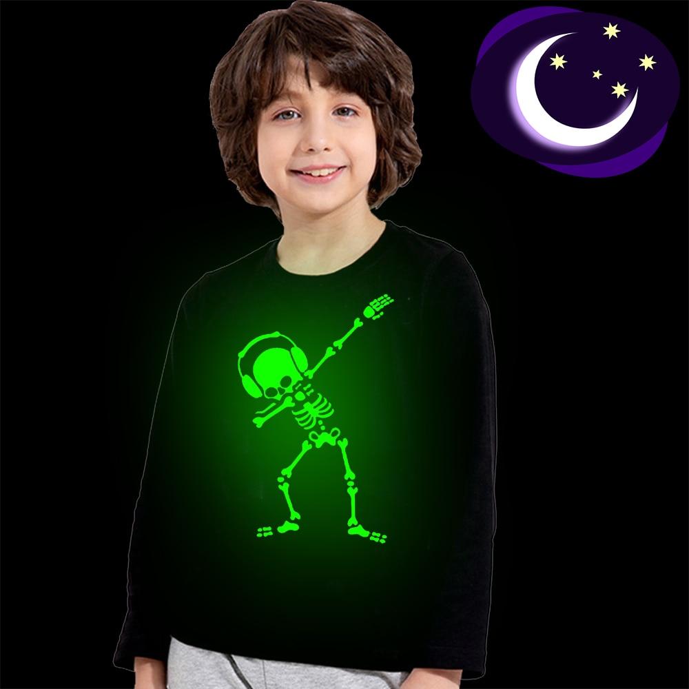 Светящаяся детская футболка Dabbing для Хэллоуина со скелетом, танцующим черепом, модная фосфоресцирующая футболка с длинным рукавом для маль...