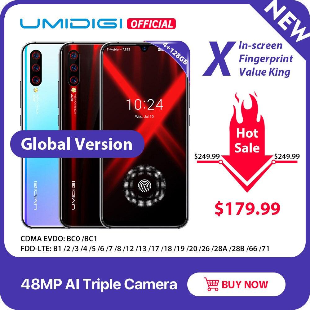 """Versão global umidigi x in screen impressão digital 6.35 """"amoled 48mp triplo câmera traseira 128 gb nfc helio p60 4150 mah celular"""