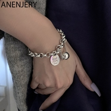 ANENJERY 925 Sterling Silver Ball Pendant Tag Charms Bracelet for Women Vintage Thick Chain Hip Hop Bracelet Jewelry S-B516