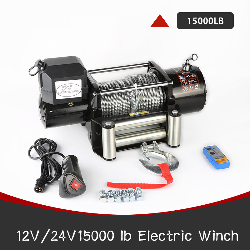 Winch Car 12/24V 15000LB Electric Winch Portable Electric Winch Wire Rope Electric Winch Truck-mounted Crane Electric Winch