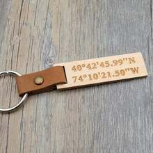 Брелок для ключей с gps координатами под заказ брелок дерево
