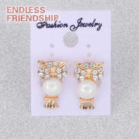 2018 Top Quality Pearl Stud Earrings With Zircon Owl Earrings For Women Jewelry Accessories Gifts Wholesale