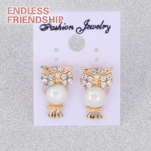 цена на Good Quality Owl Shaped Stud Earrings With Pearl Wholesale For Women Gifts