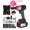 Cordless Impact Wrench 980Nm Torque Brushless Motor Quick Chuck 2x6.0A with Fast Charger Variable Speed Impact Kit with Drill