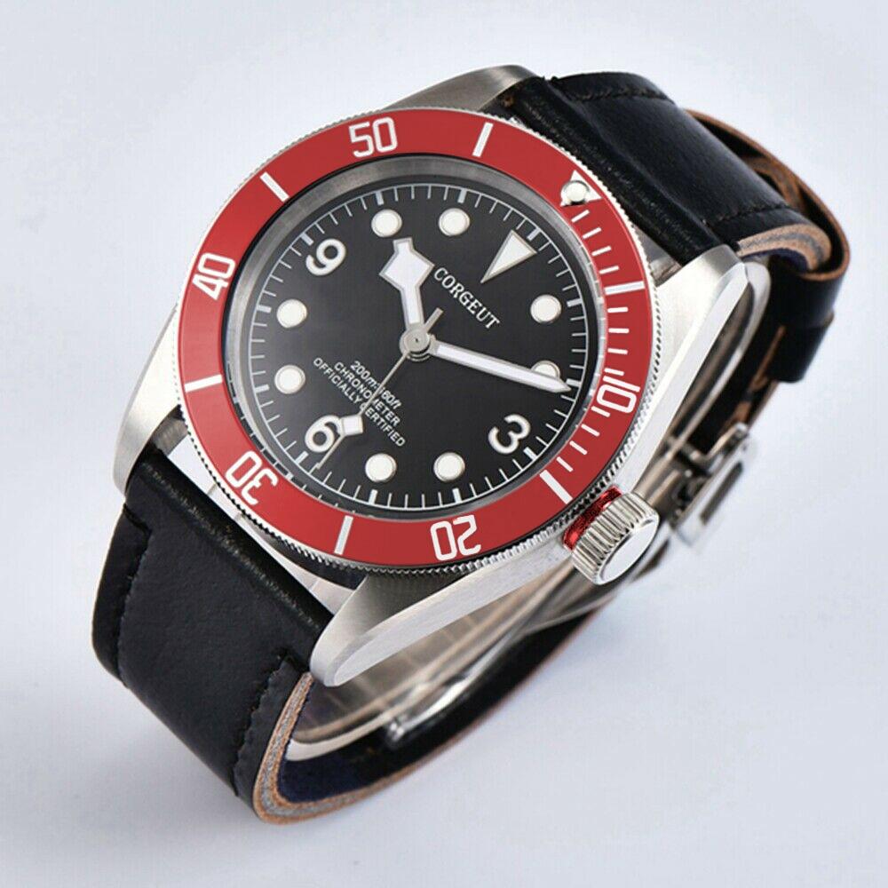 Corgeut41mm mens Mechanical Seagull / Miyota8215 Automatic wrist Watches Leather Waterproof Watch Men sapphire glass SS case