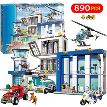 City Police Station Building Blocks 890pcs Compatible  City Cop Car Jail Cell Helicopter Bricks Toys for Children