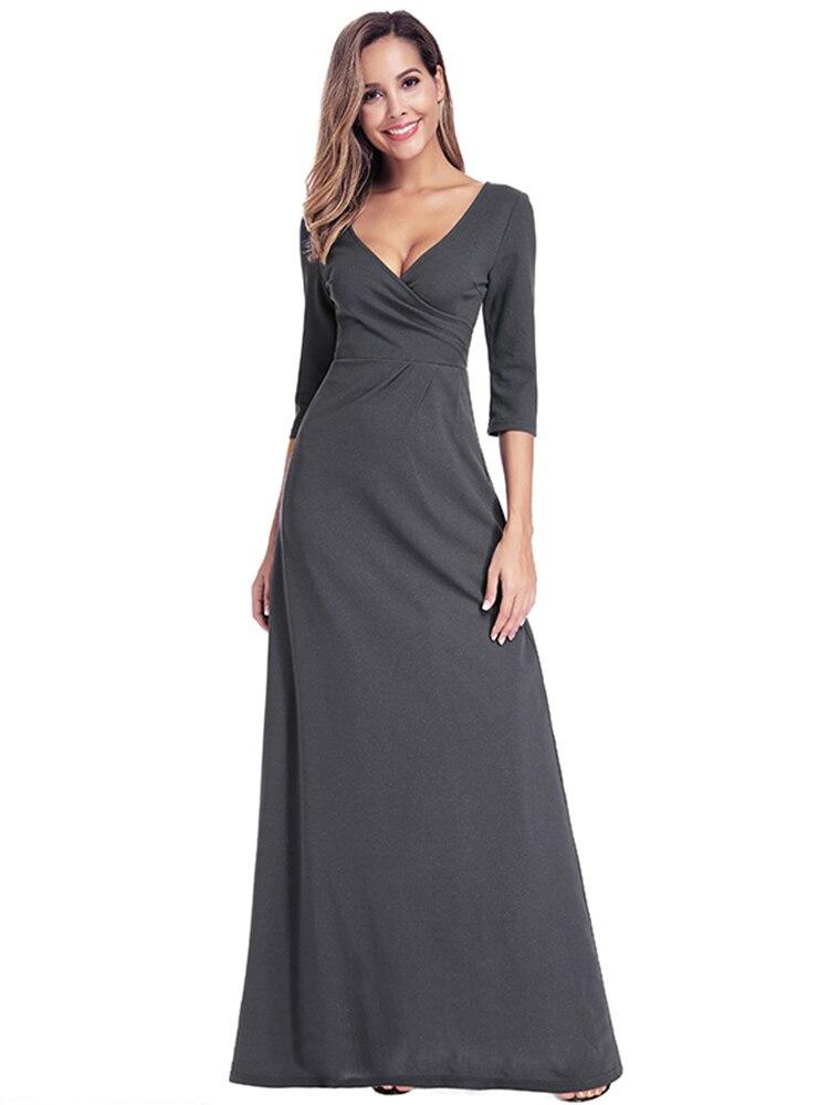 Evening-Dresses Robe Longue Party-Gowns Ever Pretty Ruched Vestido-De-Festa Elegant Simple