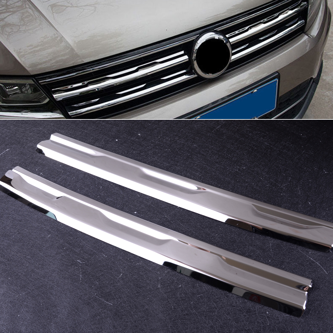 CITALL Stainless Steel Front Mesh Grill Grille Trim Molding Garnish Cover fit for Volkswagen <font><b>Tiguan</b></font> MK2 2016 2017 2018 <font><b>2019</b></font> image