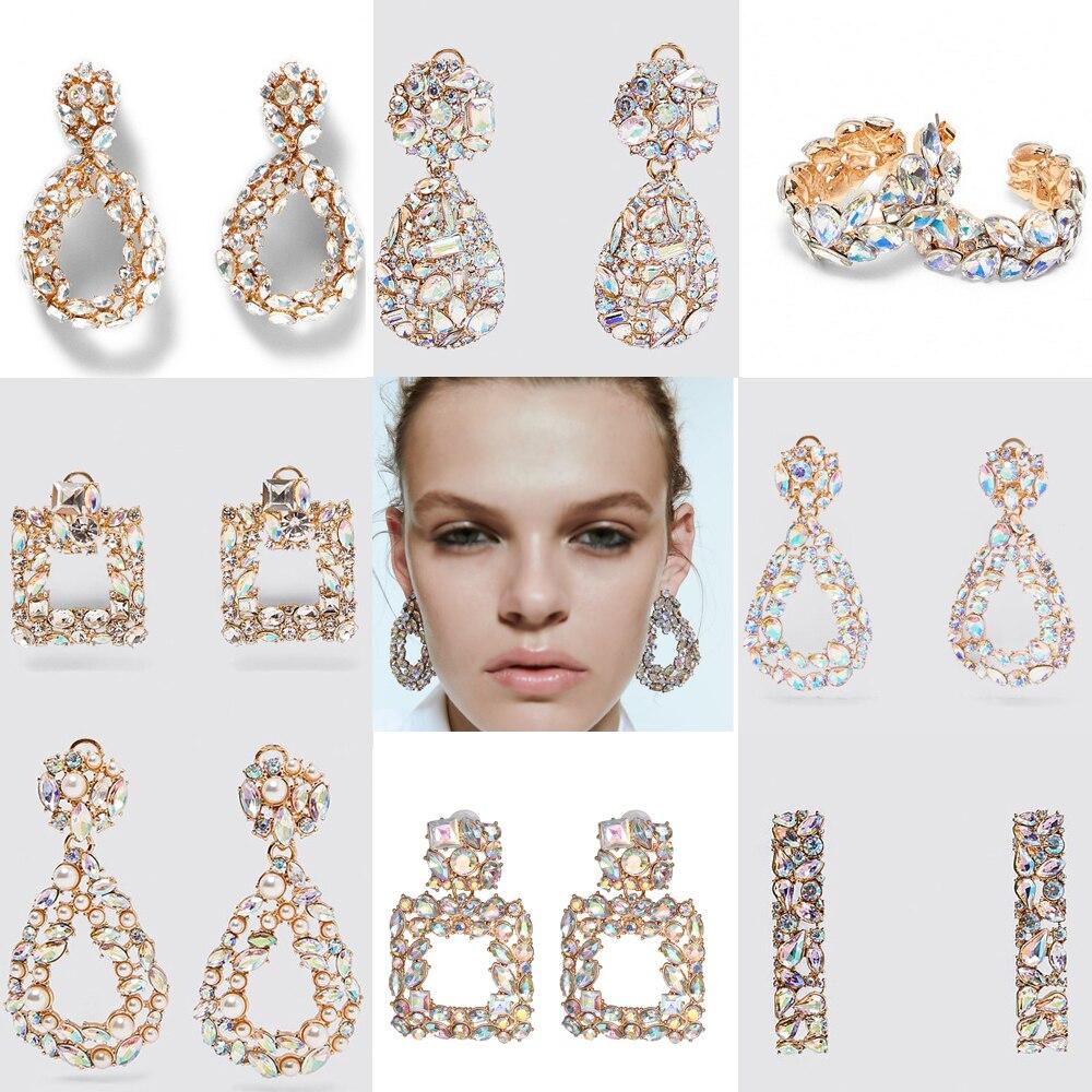 JUJIA ZA Statement AB Stone Stud Earrings For Women Wedding Gifts Jewelry SPARKLY EARRINGS