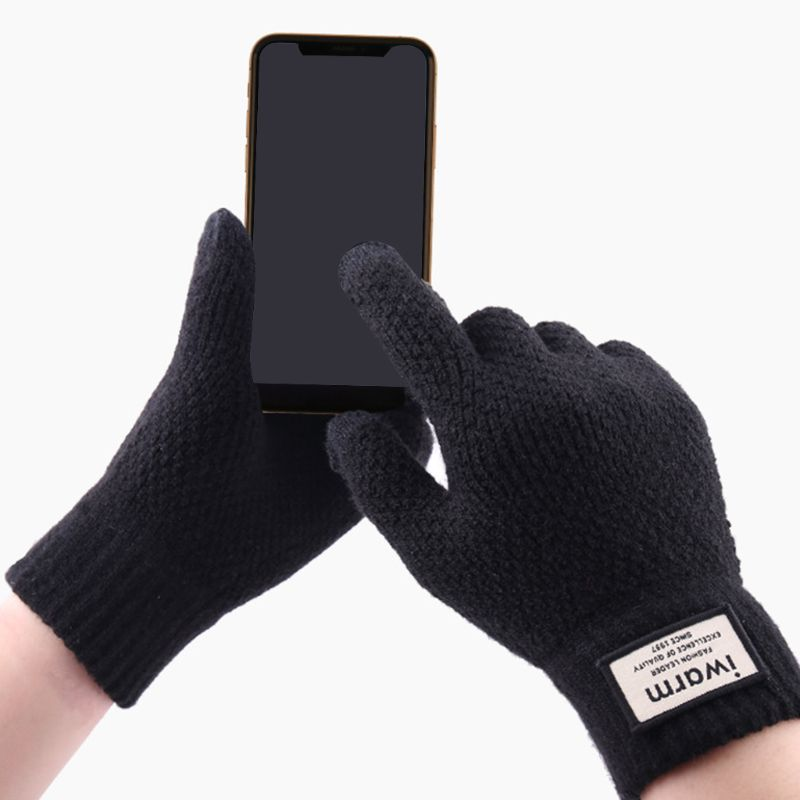 Mens Womens Thickened Waffle Knit Winter Gloves Touch Screen Fingertips Elastic Cuff Thermal Soft Lining Warm Jacquard Mittens