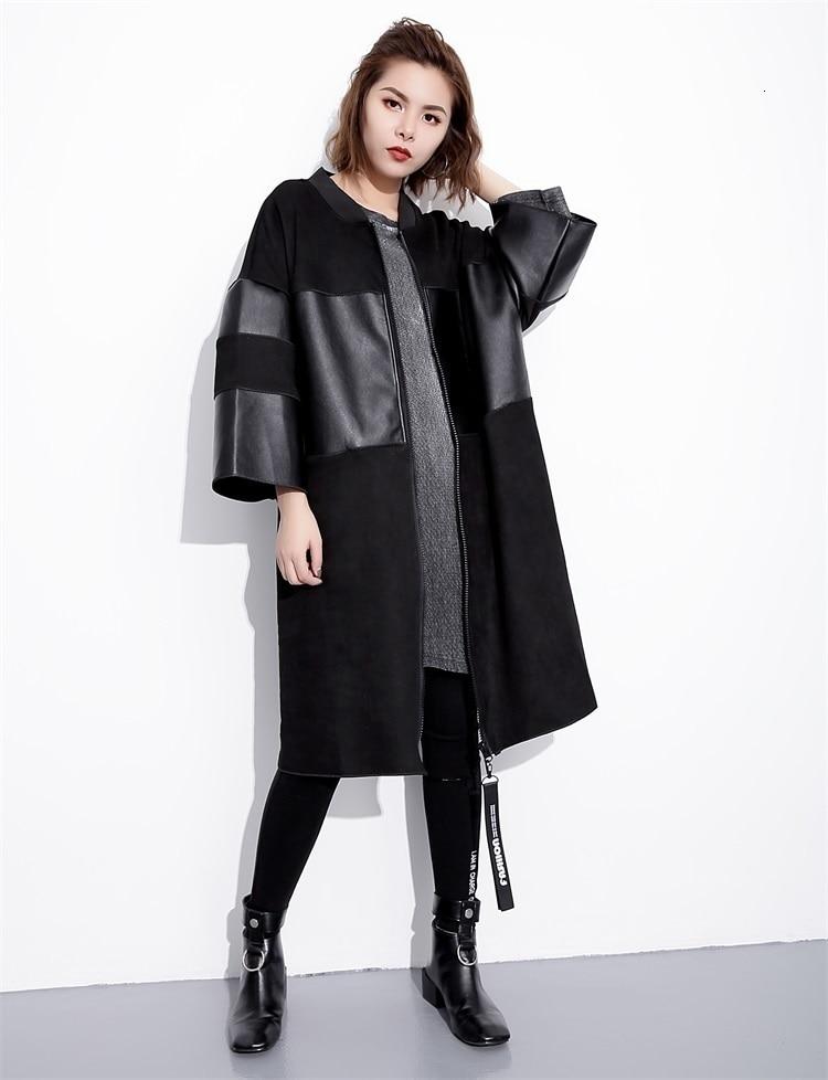 H64336029dfe44b27ab23ae20a27adca2m [EAM] Loose Fit Black Pu Leather Spliced Big Size Jacket New Stand Collar Long Sleeve Women Coat Fashion Autumn 2019 JC2530
