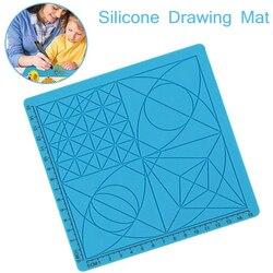 1Pc niebieski druk 3D kopiowanie silikonowe rysunek projekt mata narzędzia do rysowania 3D pióro do dekorowania projekt mata do 3D pióro do dekorowania 17cm
