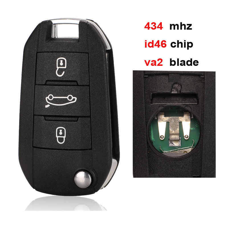 jingyuqin Car Remote <font><b>Key</b></font> 434Mhz for <font><b>Peugeot</b></font> 208 2008 301 308 3008 408 <font><b>4008</b></font> 508 5008 Auto Keyless Entry HELLA for Citroen image