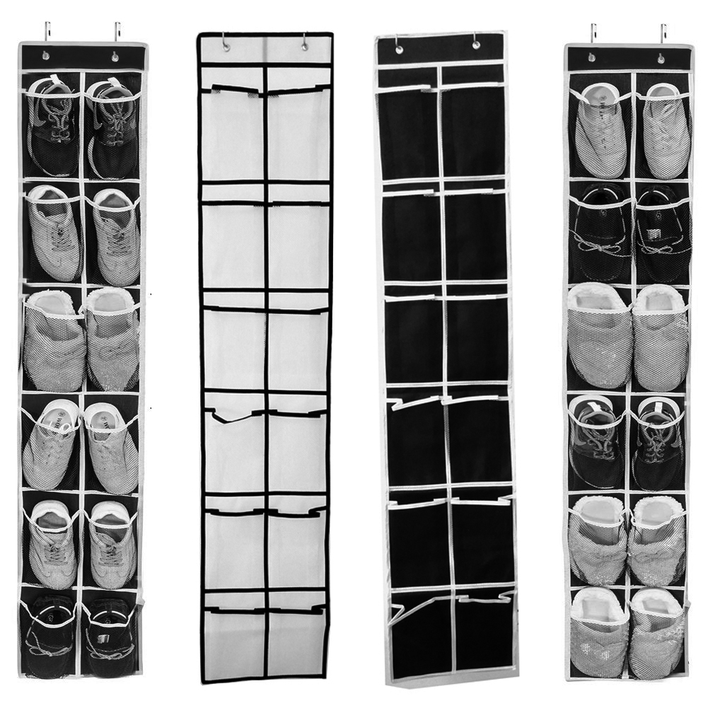 12 to 24 Pockets Shoe Hanger for Door and Closet to Save Extra Space Constructed with Strong Canvas
