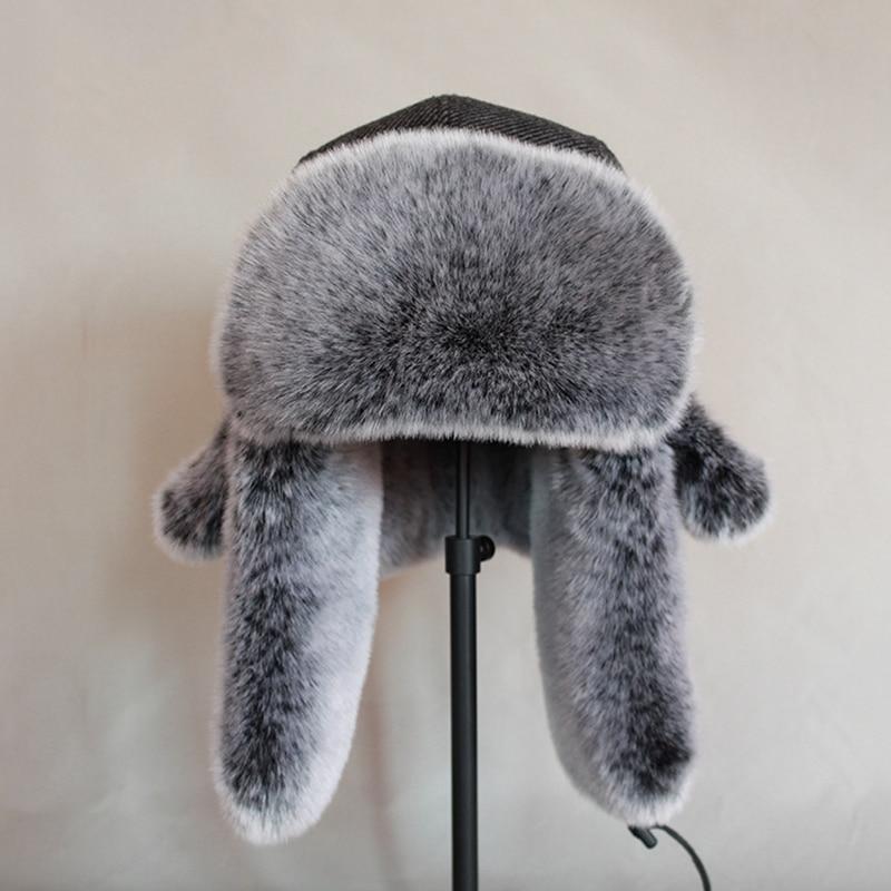 YUANOMM Unisex Winter Ear Flap Bomber Hat,Ushanka Earflap Hats Warm Winter Black Bomber Hat Men Russian Style Gorros De Aviador