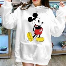 Autumn Winter Women Hooded Sweatshirt Thick Fleece Long Sleeve Cartoon Mickey Hoodies Pocket Casual Loose Plus Size Pullover Top цена