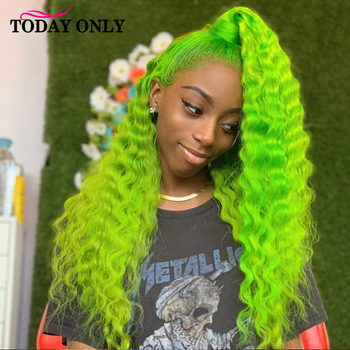 613 Water Wave Lace Front Wig Pre Plucked 150% 180 Density 13X4 Green Pink Red Purple Blond Lace Front Wig Human Hair Wigs Remy