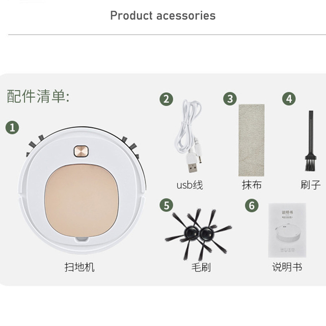 Smart Robot Vacuum Cleaner Household Multifunctional 3-in-1 Cleaning Appliances Wireless Automatic Vacuum Cleaner 5