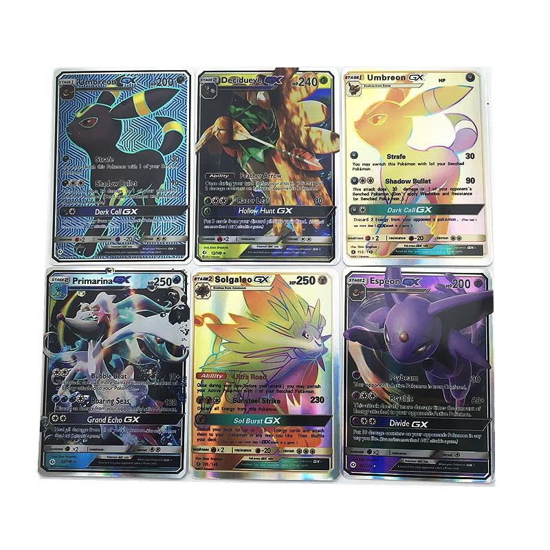Takara Tomy 30PCS Pokemon Card Combat Flash Shining Cards Pokemon Sun Moon GX