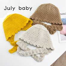 July baby autumn and winter hat girl hand knitted wool cap boy baby tether thick warm hat 1-6 years old men and women(China)
