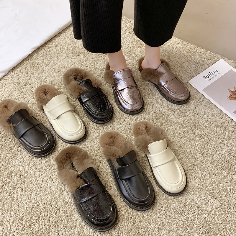 Cover Toe Female Shoes Loafers Womens Slippers Outdoor Mules Sexy Platform Slides Fur Flip Flops 2019 Soft Flat Plush PU with 21