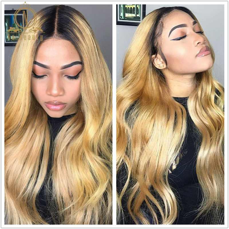 Nabeauty 180 Density Ombre Honey Blonde Lace Front Wig Body Wave Peruvian Wig Colored 13x6 Lace Front Human Hair Wigs Preplucked
